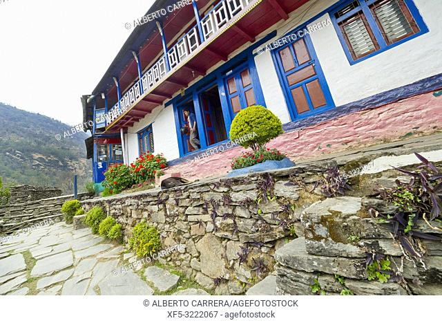 Rest Area, Small Village, Ghest House, Trek to Annapurna Base Camp, Annapurna Conservation Area, Himalaya, Nepal, Asia