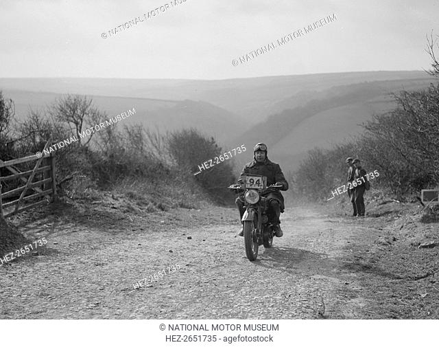 Triumph 498 cc. Event Entry No: 94. Driver: Dennis, Sigmn. C.J. No award. Place: At the top of Beggars Roost, Exmoor. M.C.C. Lands End Trial