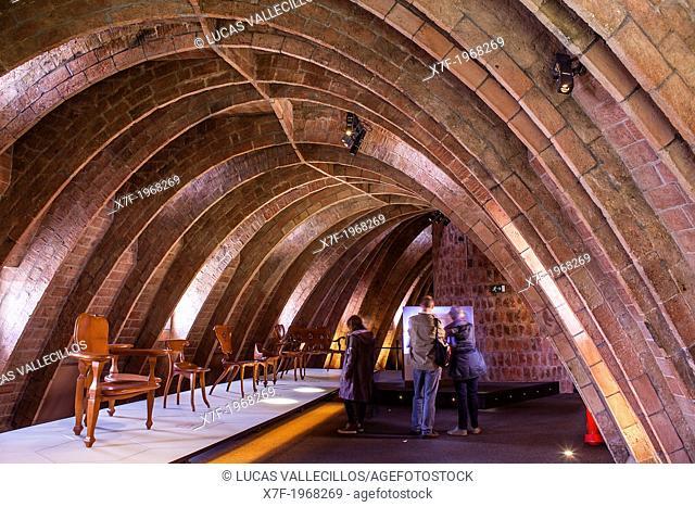 """""""""""Espai Gaudi"""",attic of Casa Mila, La Pedrera, Barcelona, Catalonia, Spain"