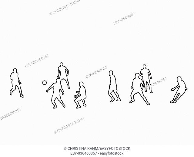 Silhouettes of football soccer players playing a game black contours on white abstract background illustration