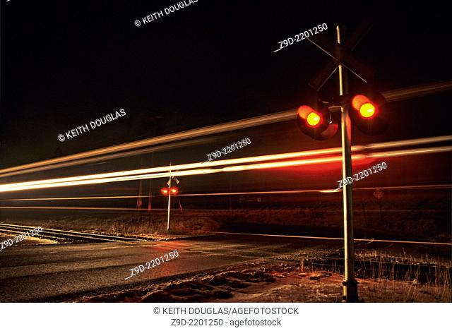 Train crossing at night, Smithers,BC,