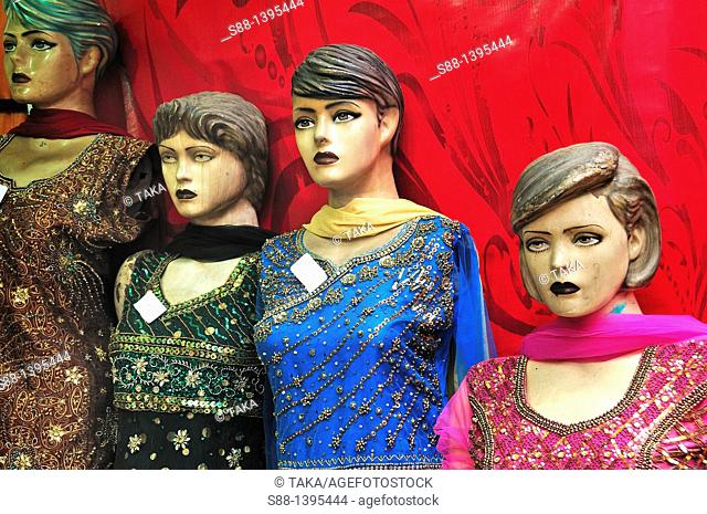 Manequins on the main shopping street