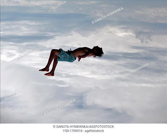 man resting in the sky