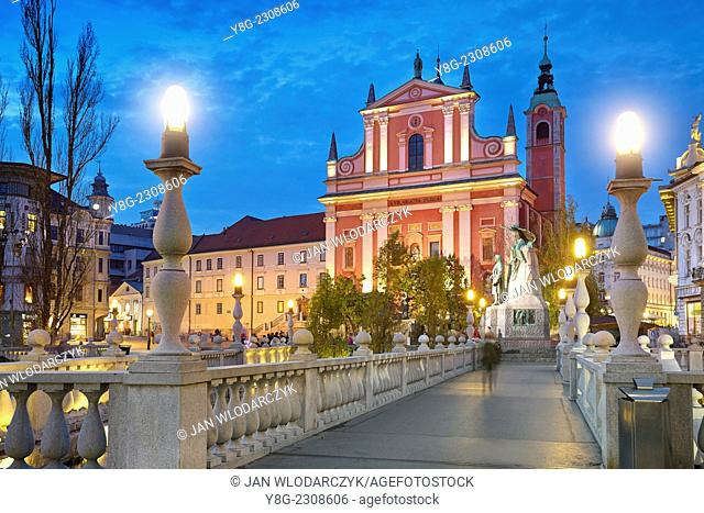 Ljubljana, evening view at Franciscan Church, Slovenia