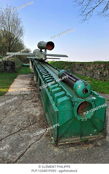 Launching ramp with flying bomb / doodlebug at the V1 launch site at Ardouval / Val Ygot, Normandy, France