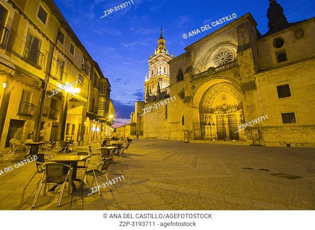 Cathedral by dusk in Burgo de Osma village Soria province Castile Leon Spain