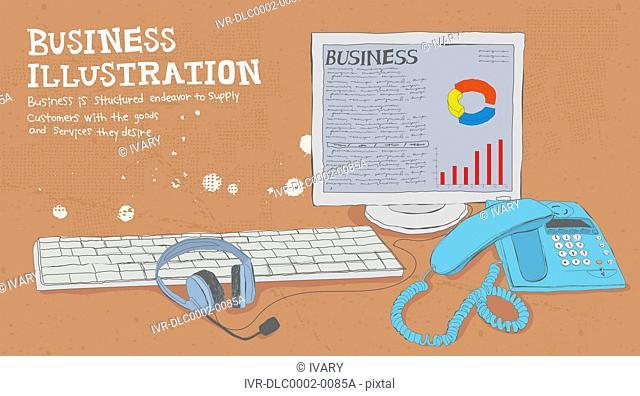 Illustration of desktop computer and telephone