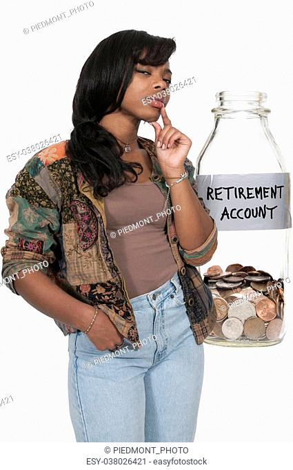 Woman with a milk bottle retirement account