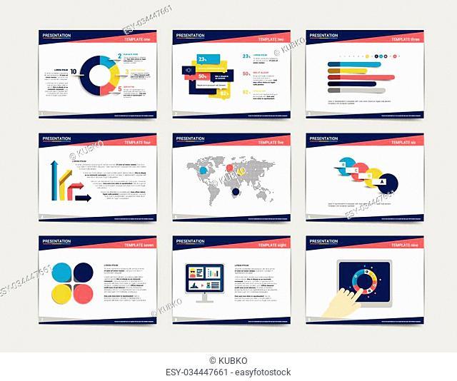 9 presentation business templates. Infographics for leaflet, poster, slide, magazine, book, brochure, website, print
