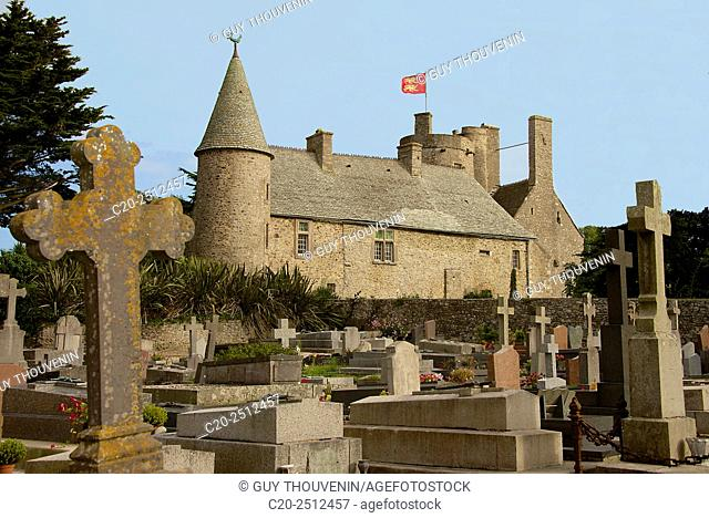 Vauville manor house, and churchyard, Vauville gardens, Vaudeville, Cotentin, Normandy, France