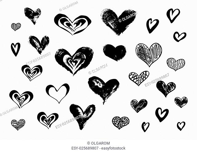 Hand drawn ink doodle hearts on a white background