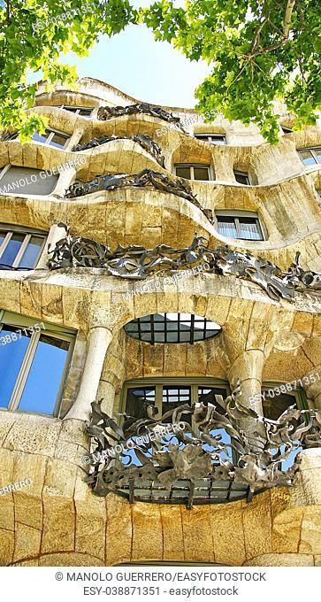 Building of La Pedrera by Antonio Gaudí, Barcelona, Catalunya, Spain