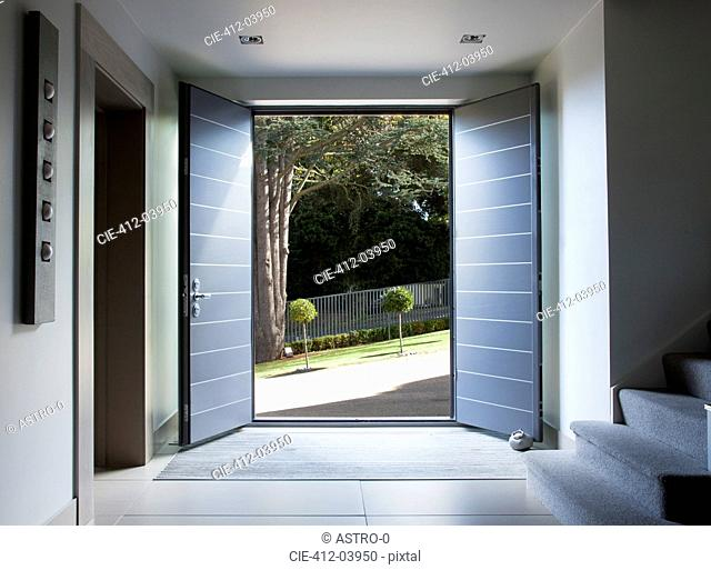 Front doors and walkway of modern home