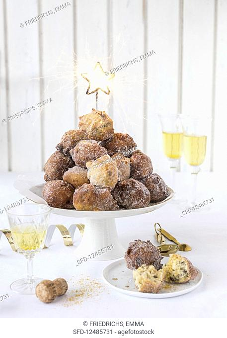 Mini doughnut bites for New Year's Eve with sparklers