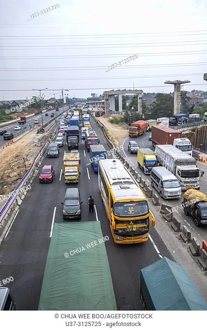Traffic jam along Bandung-Jakarta Highway, Indonesia