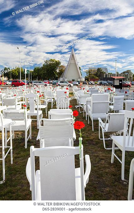 New Zealand, South Island, Christchurch, silent memorial outdoor church by the Cardboard Cathedral