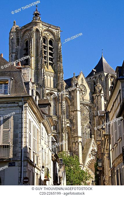Old town and Cathedral saint Etienne, 12th 14th c., Gothic style, Bourges, Cher, Berry, France