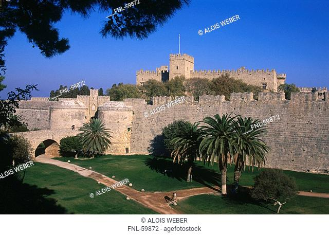 Lawn in front of castle, Rhodes, Dodecanese Islands, Greece