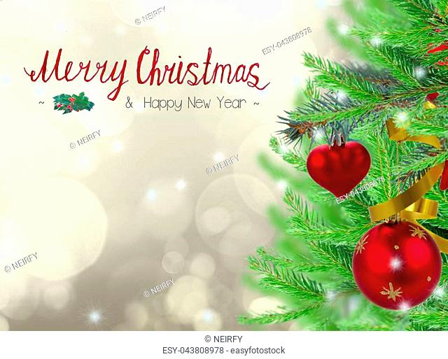 christmas frame background with decorated fir tree on gray sparkling background and merry chritmas greetings