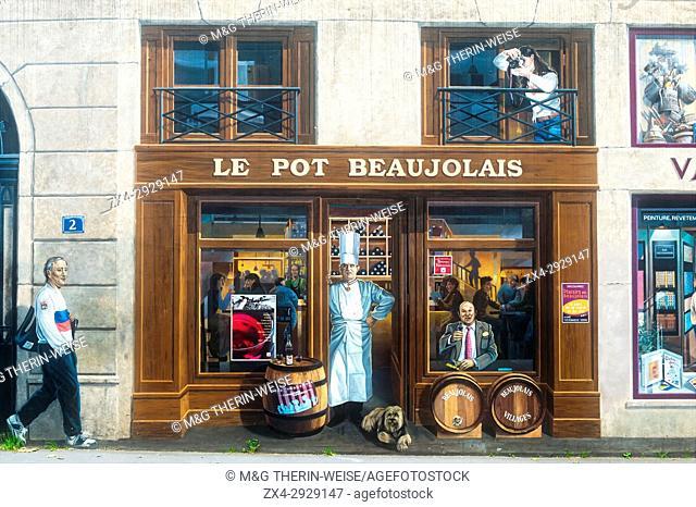 "Fresco """"La Fresque des Lyonnais"""" representing known people of the city, Paul Bocuse and Frederic Dard, Lyon, Rhône Alpes, France"