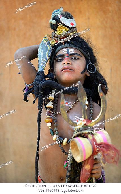 India, Rajasthan, Pushkar, Young sadhu dressed as God Shiva