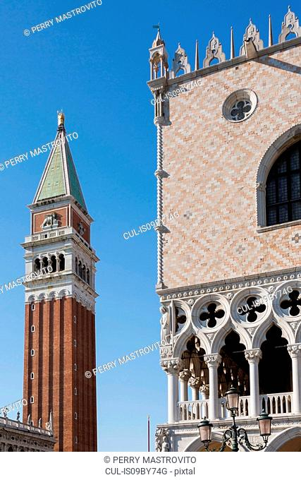National Library of St Mark's, Campanile bell tower and Doge's Palace, St Mark's Square, San Marco district, Venice, Veneto, Italy