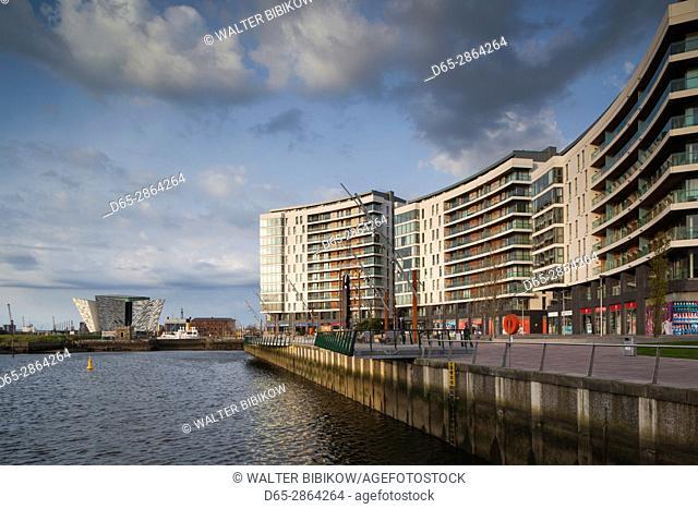 UK, Northern Ireland, Belfast, Belfast Docklands, riverside residential buidings and Titanic Belfast Museum