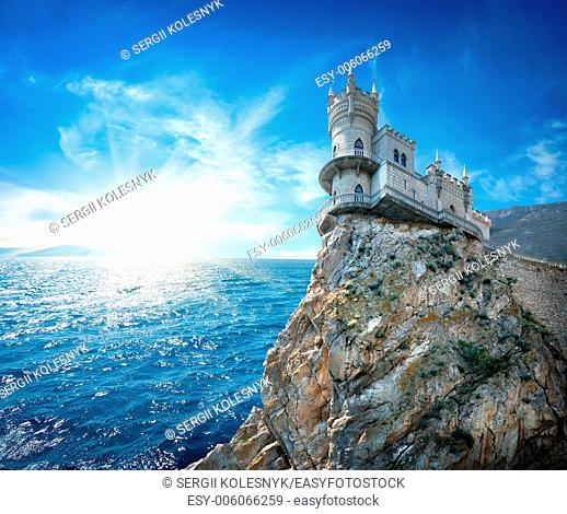 Swallow's Nest Castle on the rock in the Black sea
