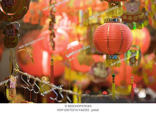 close up of a chinese lantern hanging in a store - Chinese New Year 2007
