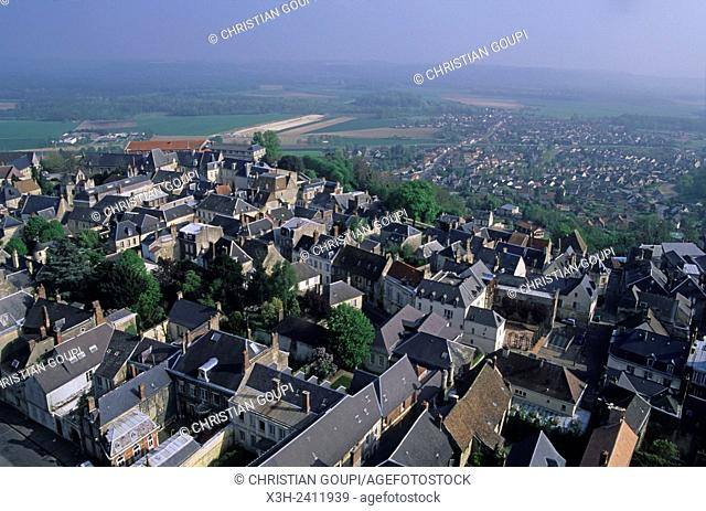 view over the old town from Cathedral's tower, Laon, Aisne department, Picardy region, northern France, Europe