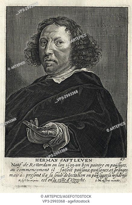 HERMAN SAFTLEVEN - Woodcut portrait and short biography (old french language) - Engraving 17th century