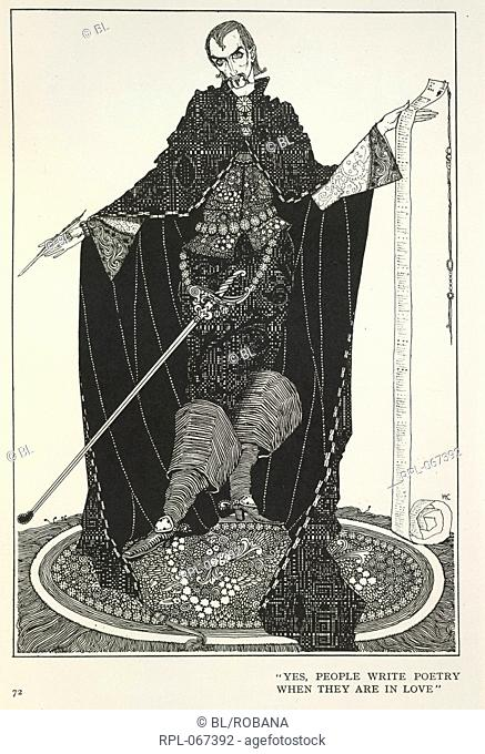 Poetry and love, 'Yes, people write poetry when they are in love'. A male figure holding a document. Image taken from Fairy Tales Illustrated by Harry Clarke