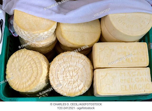 Peru, Cusco, San Pedro Market. Cheese for Sale
