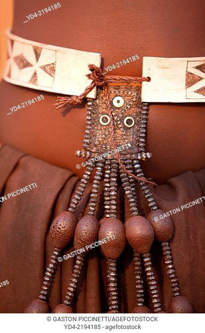Himba, with the typical ornaments, Kaokoland, Kunene region, Namibia