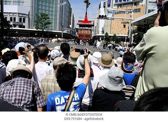 People at Gion Matsuri, festival of purification, Kawaramachi dori, Kyoto, Kansai, Japan