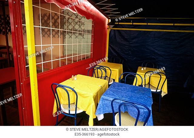 Restaurant tables in a tent. Valras Plage. Hérault. France