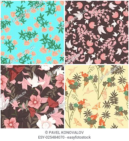 Floral Seamless Pattern Set. Elegant Design With Beautiful Flowers, Butterflies and Birds on Color Background. Floral and Swirl Elements