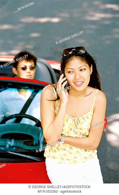 Asian girl on cellular