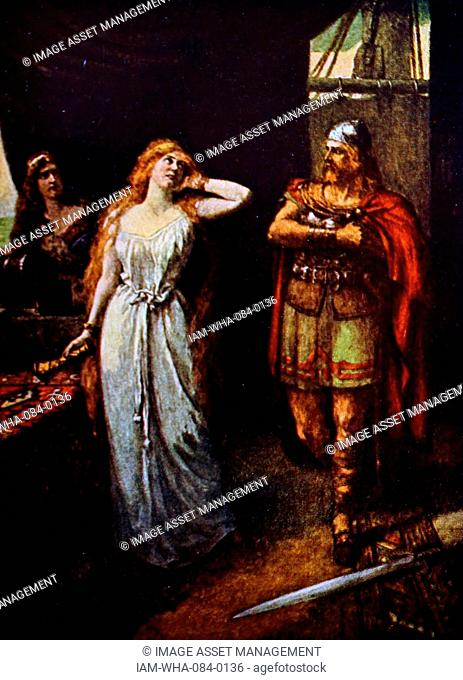Painting depicting a scene from the opera Tristan and Isolde by Richard Wagner (1813-1883) a German composer, theatre director, polemicist, and conductor