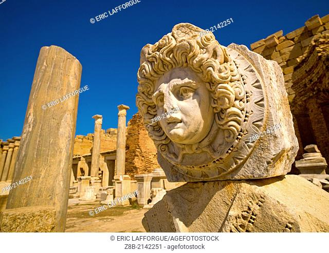 KHOMS, LIBYA - APRIL 02: Leptis Magna was a prominent city of the Roman Empire, its ruins are located in Khoms, east of Tripoli