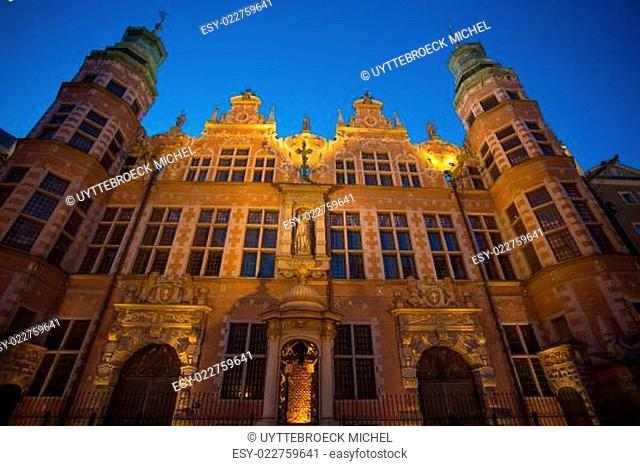 Historical city of Gdansk at night in poland