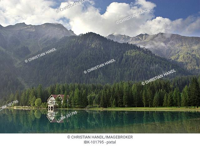 Antholzer lake and a hotel, South Tyrol, Italy
