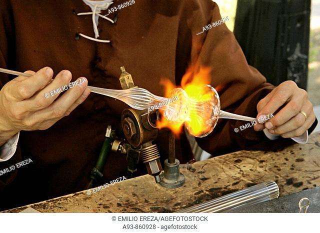 Working glass in a medieval market. Mollerussa, Lleida, Spain