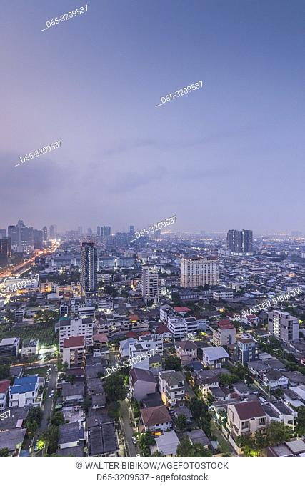 Thailand, Bangkok, Silom Area, high angle skyline view, dawn