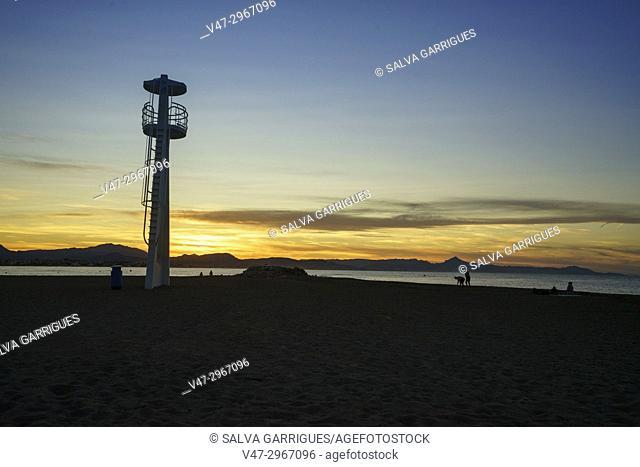 Sunset on the beach of Denia, Alicante, Valencia, Spain, Europe
