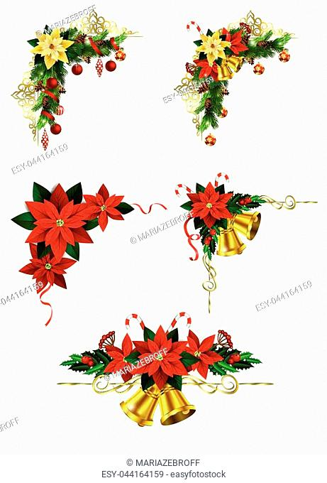 Christmas decoration set with evergreen treess pine cones and poinsettia isolated vector