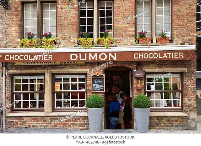 Bruges, East Flanders, Belgium Europe  Dumon chocolatier shop selling Belgian chocolates