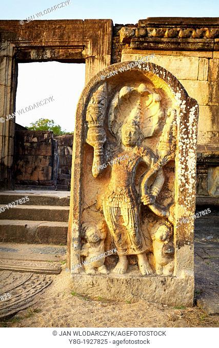 Sri Lanka - Vatadage Temple, stone guard, Ancient City area, ruins of ancient Royal Residence, Polonnaruwa, old capital city of Sri Lanka