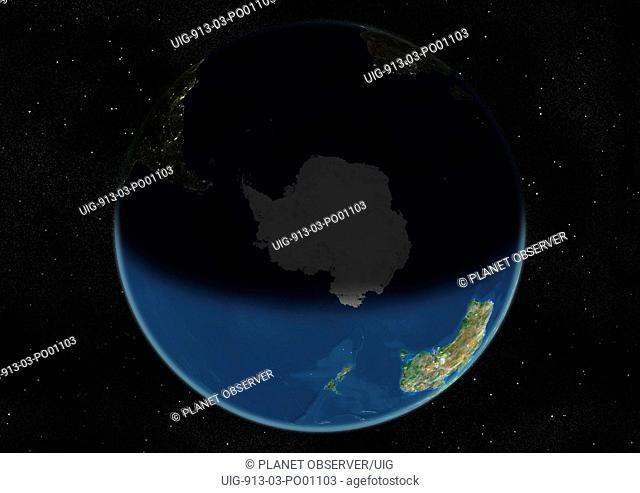 Globe Centred On The South Pole, True Colour Satellite Image. True colour satellite image of the Earth centred on the South Pole, during summer solstice at 12 p