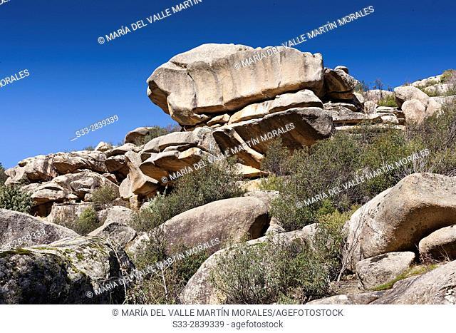 The Tranco cliffs in the Pedriza. Regional Park del Ato Manzanares. Manzanares el Real. Madrid. Spain. Europe